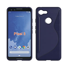 Silikon Hülle Handyhülle S-Line Schutzhülle Durchsichtig Transparent für Google Pixel 3 Blau