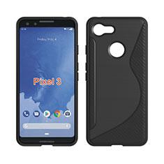 Silikon Hülle Handyhülle S-Line Schutzhülle Durchsichtig Transparent für Google Pixel 3 Schwarz