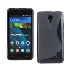 Silikon Hülle Handyhülle S-Line Schutzhülle Durchsichtig Transparent für Huawei Ascend Y635 Dual SIM Grau