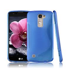 Silikon Hülle Handyhülle S-Line Schutzhülle Durchsichtig Transparent für LG K10 Blau
