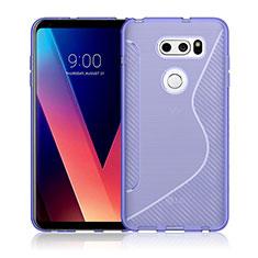 Silikon Hülle Handyhülle S-Line Schutzhülle Durchsichtig Transparent für LG V30 Violett