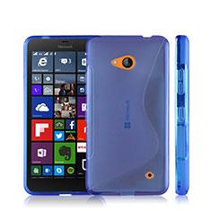Silikon Hülle Handyhülle S-Line Schutzhülle Durchsichtig Transparent für Microsoft Lumia 640 Blau