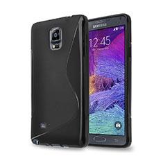 Silikon Hülle Handyhülle S-Line Schutzhülle für Samsung Galaxy Note 4 Duos N9100 Dual SIM Schwarz