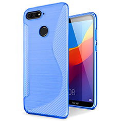 Silikon Hülle Handyhülle S-Line Schutzhülle Tasche Durchsichtig Transparent für Huawei Enjoy 8e Blau