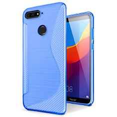 Silikon Hülle Handyhülle S-Line Schutzhülle Tasche Durchsichtig Transparent für Huawei Y6 (2018) Blau