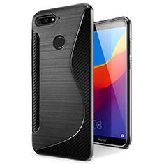 Silikon Hülle Handyhülle S-Line Schutzhülle Tasche Durchsichtig Transparent für Huawei Y6 Prime (2018) Schwarz