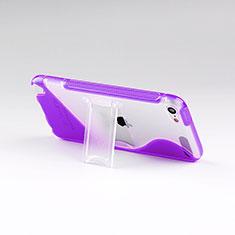 Silikon Hülle Handyhülle S-Line Stand Schutzhülle Durchsichtig Transparent für Apple iPod Touch 5 Violett