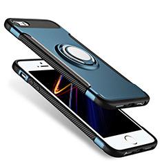 Silikon Hülle Handyhülle Schutzhülle mit Fingerring Ständer Durchsichtig Transparent Matt für Apple iPhone 5S Blau