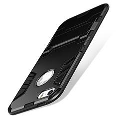 Silikon Hülle Handyhülle Stand Schutzhülle Durchsichtig Transparent Matt für Apple iPhone SE Schwarz
