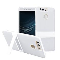 Silikon Hülle Handyhülle Stand Schutzhülle Durchsichtig Transparent Matt für Huawei P9 Weiß