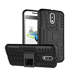 Silikon Hülle Handyhülle Stand Schutzhülle Durchsichtig Transparent Matt für Motorola Moto G4 Plus Schwarz