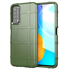Silikon Hülle Handyhülle Ultra Dünn Flexible Schutzhülle 360 Grad Ganzkörper Tasche für Huawei Y7a Armee-Grün