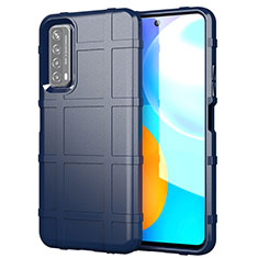 Silikon Hülle Handyhülle Ultra Dünn Flexible Schutzhülle 360 Grad Ganzkörper Tasche für Huawei Y7a Blau