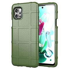 Silikon Hülle Handyhülle Ultra Dünn Flexible Schutzhülle 360 Grad Ganzkörper Tasche für LG Q92 5G Grün