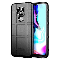 Silikon Hülle Handyhülle Ultra Dünn Flexible Schutzhülle 360 Grad Ganzkörper Tasche für Motorola Moto E7 Plus Schwarz