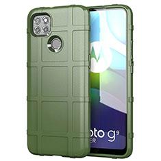 Silikon Hülle Handyhülle Ultra Dünn Flexible Schutzhülle 360 Grad Ganzkörper Tasche für Motorola Moto G9 Power Armee-Grün