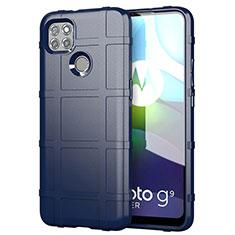 Silikon Hülle Handyhülle Ultra Dünn Flexible Schutzhülle 360 Grad Ganzkörper Tasche für Motorola Moto G9 Power Blau