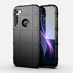 Silikon Hülle Handyhülle Ultra Dünn Flexible Schutzhülle 360 Grad Ganzkörper Tasche für Motorola Moto One Fusion Plus Schwarz