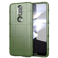 Silikon Hülle Handyhülle Ultra Dünn Flexible Schutzhülle 360 Grad Ganzkörper Tasche für Nokia 2.4 Armee-Grün