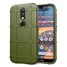 Silikon Hülle Handyhülle Ultra Dünn Flexible Schutzhülle 360 Grad Ganzkörper Tasche für Nokia 4.2 Armee-Grün