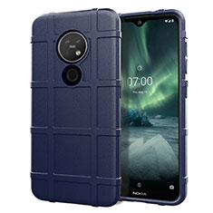 Silikon Hülle Handyhülle Ultra Dünn Flexible Schutzhülle 360 Grad Ganzkörper Tasche für Nokia 7.2 Blau