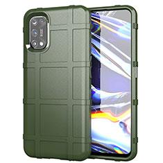 Silikon Hülle Handyhülle Ultra Dünn Flexible Schutzhülle 360 Grad Ganzkörper Tasche für Realme 7 Pro Armee-Grün