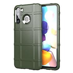Silikon Hülle Handyhülle Ultra Dünn Flexible Schutzhülle 360 Grad Ganzkörper Tasche für Samsung Galaxy A21 Armee-Grün