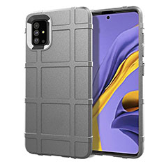 Silikon Hülle Handyhülle Ultra Dünn Flexible Schutzhülle 360 Grad Ganzkörper Tasche für Samsung Galaxy A51 4G Grau