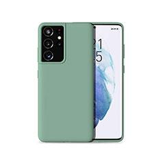 Silikon Hülle Handyhülle Ultra Dünn Flexible Schutzhülle 360 Grad Ganzkörper Tasche für Samsung Galaxy S21 Ultra 5G Grün