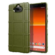 Silikon Hülle Handyhülle Ultra Dünn Flexible Schutzhülle 360 Grad Ganzkörper Tasche für Sony Xperia 8 Lite Armee-Grün