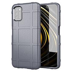 Silikon Hülle Handyhülle Ultra Dünn Flexible Schutzhülle 360 Grad Ganzkörper Tasche für Xiaomi Poco M3 Grau