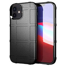 Silikon Hülle Handyhülle Ultra Dünn Flexible Schutzhülle 360 Grad Ganzkörper Tasche S01 für Apple iPhone 12 Mini Schwarz