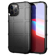 Silikon Hülle Handyhülle Ultra Dünn Flexible Schutzhülle 360 Grad Ganzkörper Tasche S01 für Apple iPhone 12 Pro Schwarz
