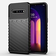 Silikon Hülle Handyhülle Ultra Dünn Flexible Schutzhülle 360 Grad Ganzkörper Tasche S01 für LG V60 ThinQ 5G Schwarz