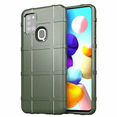 Silikon Hülle Handyhülle Ultra Dünn Flexible Schutzhülle 360 Grad Ganzkörper Tasche S01 für Samsung Galaxy A21s Grün