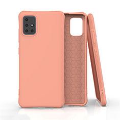 Silikon Hülle Handyhülle Ultra Dünn Flexible Schutzhülle 360 Grad Ganzkörper Tasche S01 für Samsung Galaxy A51 4G Orange
