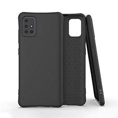 Silikon Hülle Handyhülle Ultra Dünn Flexible Schutzhülle 360 Grad Ganzkörper Tasche S01 für Samsung Galaxy A51 4G Schwarz