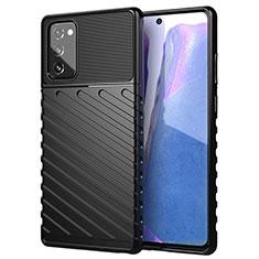 Silikon Hülle Handyhülle Ultra Dünn Flexible Schutzhülle 360 Grad Ganzkörper Tasche S01 für Samsung Galaxy Note 20 5G Schwarz