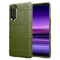 Silikon Hülle Handyhülle Ultra Dünn Flexible Schutzhülle 360 Grad Ganzkörper Tasche S01 für Sony Xperia 5 Grün