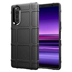 Silikon Hülle Handyhülle Ultra Dünn Flexible Schutzhülle 360 Grad Ganzkörper Tasche S01 für Sony Xperia 5 Schwarz