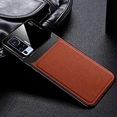 Silikon Hülle Handyhülle Ultra Dünn Flexible Schutzhülle 360 Grad Ganzkörper Tasche S01 für Vivo X50 Pro 5G Braun