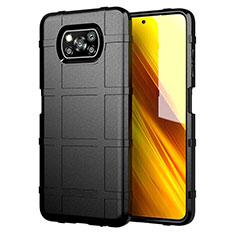 Silikon Hülle Handyhülle Ultra Dünn Flexible Schutzhülle 360 Grad Ganzkörper Tasche S01 für Xiaomi Poco X3 NFC Schwarz
