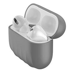 Silikon Hülle Handyhülle Ultra Dünn Flexible Schutzhülle 360 Grad Ganzkörper Tasche S02 für Apple AirPods Pro Grau