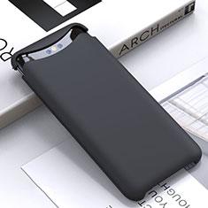 Silikon Hülle Handyhülle Ultra Dünn Schutzhülle 360 Grad Tasche C01 für Oppo Find X Schwarz
