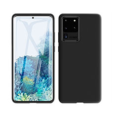 Silikon Hülle Handyhülle Ultra Dünn Schutzhülle 360 Grad Tasche C01 für Samsung Galaxy S20 Ultra 5G Schwarz