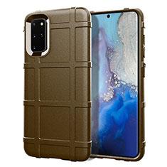 Silikon Hülle Handyhülle Ultra Dünn Schutzhülle 360 Grad Tasche C04 für Samsung Galaxy S20 Plus Braun