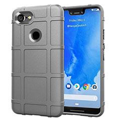 Silikon Hülle Handyhülle Ultra Dünn Schutzhülle 360 Grad Tasche S01 für Google Pixel 3 XL Silber