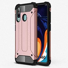 Silikon Hülle Handyhülle Ultra Dünn Schutzhülle 360 Grad Tasche S01 für Samsung Galaxy A60 Rosegold