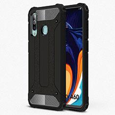 Silikon Hülle Handyhülle Ultra Dünn Schutzhülle 360 Grad Tasche S01 für Samsung Galaxy A60 Schwarz