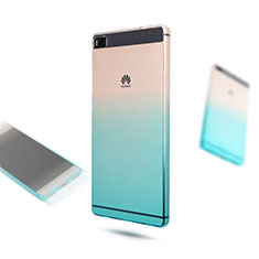 Silikon Hülle Handyhülle Ultra Dünn Schutzhülle Durchsichtig Farbverlauf für Huawei P8 Blau